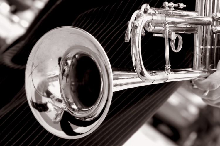 black and white trumpet close up