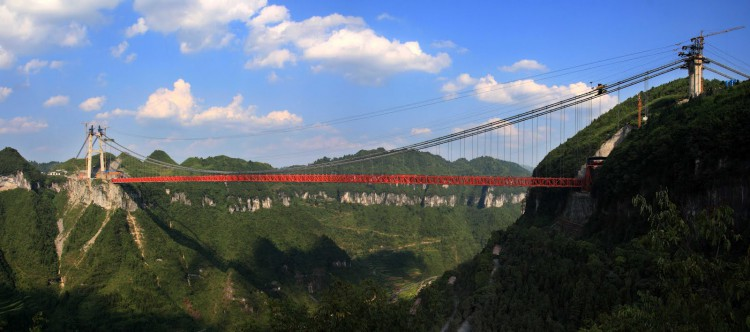 Aizhai-Jishou, CHINA Aizhai bridge becomes the World's longest suspension bridge on Apr 4 2012 when it was opened for auto traffic.