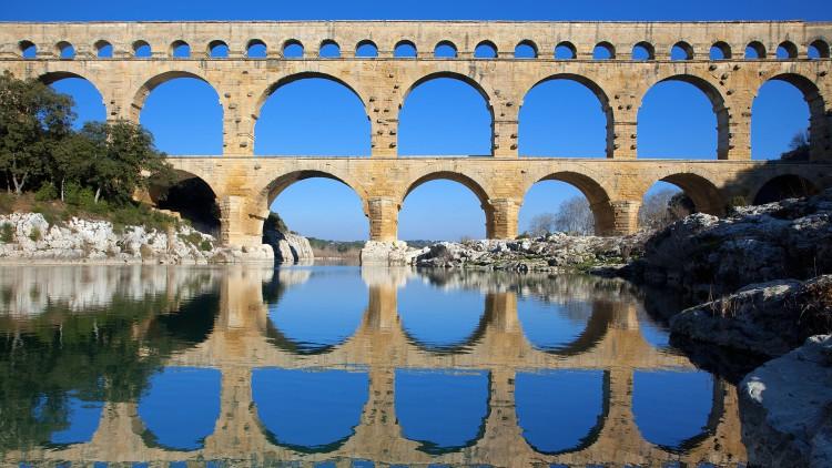 Pont du Gard and Gard River