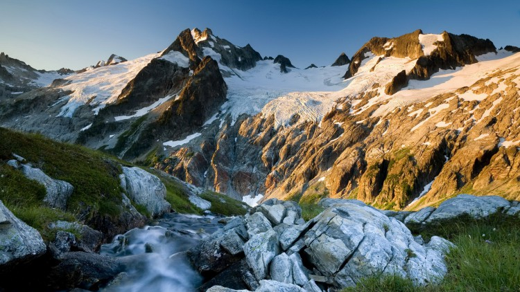 Dome Peak and the Dana Glacier at sunrise, Glacier Peak Wilderness, Washington, United States
