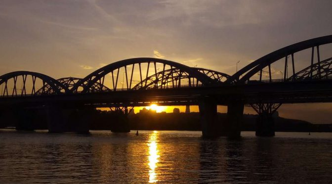 Киев вечерний, река Днепр